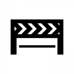 工事用バリケード・ガードの白黒シルエットイラスト04