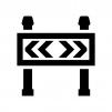 工事用バリケード・ガードの白黒シルエットイラスト02