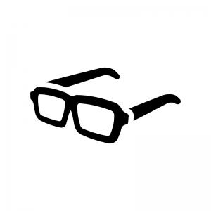 黒縁メガネの白黒シルエットイラスト02