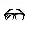黒縁メガネの白黒シルエットイラスト03