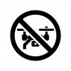 ドローン禁止の白黒シルエットイラスト