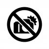 フラッシュ撮影禁止の白黒シルエットイラスト