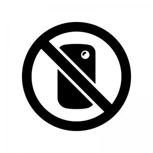 スマホで撮影禁止の白黒シルエットイラスト
