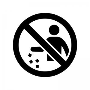 ポイ捨て禁止の白黒シルエットイラスト02