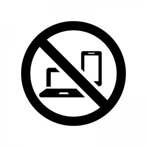 デジタル機器の使用禁止の白黒シルエットイラスト02