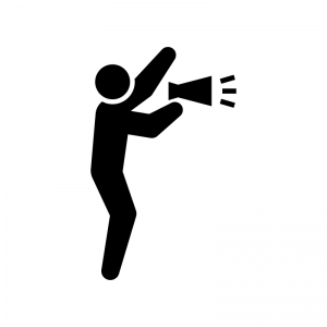 メガホンで応援する人の白黒シルエットイラスト02