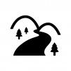 山と川の白黒シルエットイラスト
