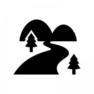山と川のシルエット02 無料のaipng白黒シルエットイラスト