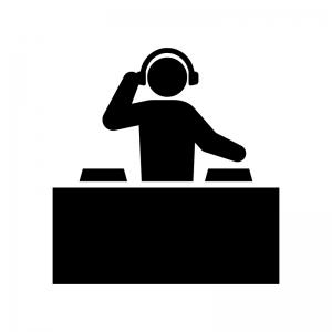 DJの白黒シルエットイラスト03