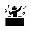 DJの白黒シルエットイラスト04