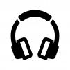 ヘッドフォンの白黒シルエットイラスト04