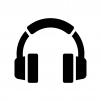 ヘッドフォンの白黒シルエットイラスト05