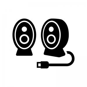 小型スピーカーの白黒シルエットイラスト03