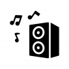 オーディオスピーカーとメロディの白黒シルエットイラスト