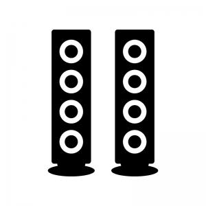 オーディオスピーカーの白黒シルエットイラスト