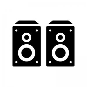 オーディオスピーカーの白黒シルエットイラスト02