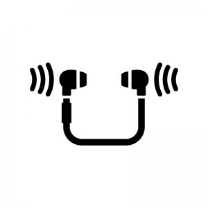 ワイヤレスイヤフォンの白黒シルエットイラスト