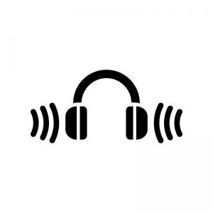 ワイヤレスヘッドフォンの白黒シルエットイラスト