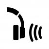 ワイヤレスヘッドフォンの白黒シルエットイラスト02