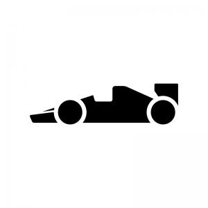 F1・フォーミュラーカーの白黒シルエットイラスト