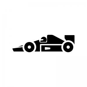 F1・フォーミュラーカーの白黒シルエットイラスト02
