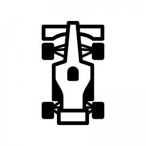 F1・フォーミュラーカーの白黒シルエットイラスト03