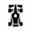 F1・フォーミュラーカーの白黒シルエットイラスト04