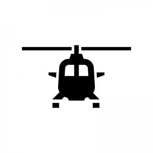 ヘリコプター(正面)の白黒シルエットイラスト