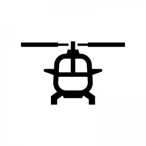 ヘリコプター(正面)の白黒シルエットイラスト02