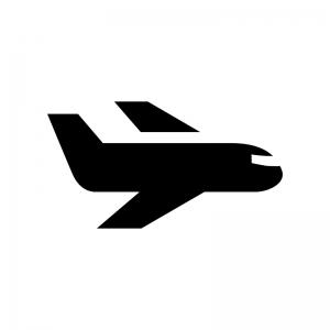 飛行機の白黒シルエットイラスト03