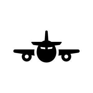 飛行機(正面)の白黒シルエットイラスト