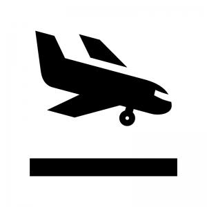 飛行機の着陸の白黒シルエットイラスト