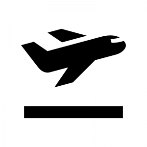 飛行機の離陸の白黒シルエットイラスト