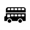 二階建てバスの白黒シルエットイラスト