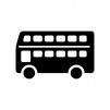 二階建てバスの白黒シルエットイラスト02