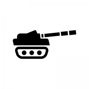 戦車の白黒シルエットイラスト