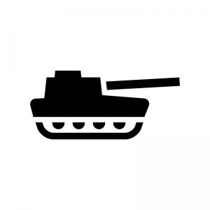 戦車の白黒シルエットイラスト02