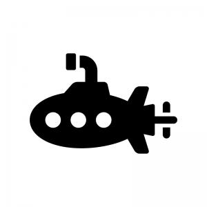 潜水艦の白黒シルエットイラスト