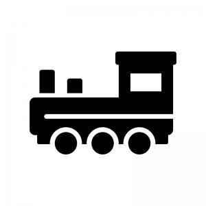 蒸気機関車の白黒シルエットイラスト