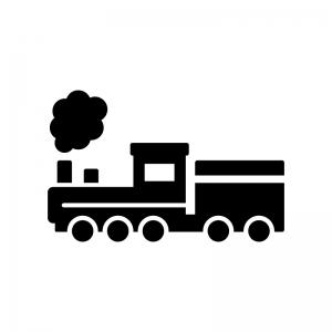 蒸気機関車の白黒シルエットイラスト02