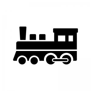 蒸気機関車の白黒シルエットイラスト03