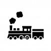 蒸気機関車の白黒シルエットイラスト04