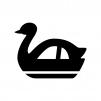 スワンボートの白黒シルエットイラスト