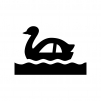 スワンボートの白黒シルエットイラスト02