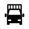 正面のトラックの白黒シルエットイラスト