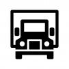 正面のトラックの白黒シルエットイラスト02