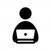 パソコン入力の白黒シルエットイラスト03