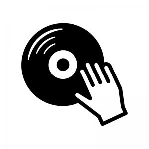 DJの白黒シルエットイラスト