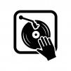 DJの白黒シルエットイラスト02