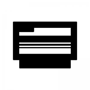 レトロゲームのカセットの白黒シルエットイラスト02